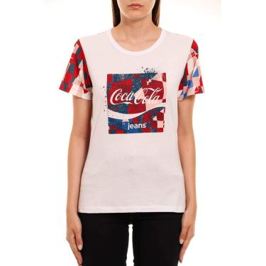 Camiseta Estampada, Coca-Cola Jeans, Feminino, Rosa/Azul/Vermelho/Branco, P
