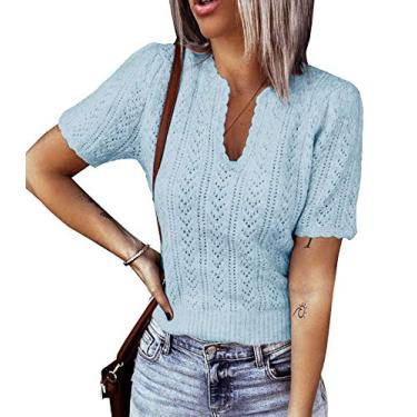 Suéter feminino de manga curta com gola em V e pulôver de malha leve Pointelle suéter túnica, Azul, S