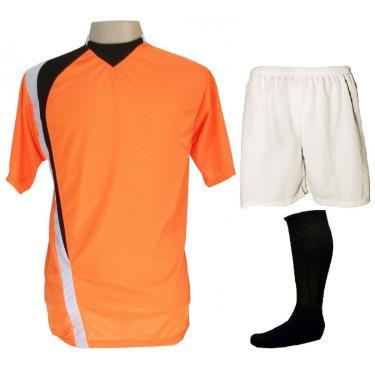 Imagem de Uniforme Esportivo Psg 14+1 Laranja/Preto/Branco (14 Camisas + 14 Calções+ 14 Pares De Meiões + 1 Conjunto De Goleiro) + Brindes