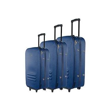 Conjunto de Malas LM600 3 peças (P, M, G) em Poliéster Azul Marinho - Swiss Move
