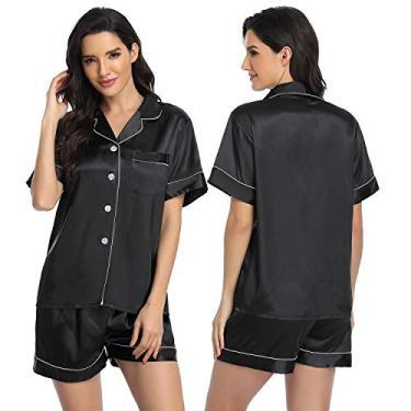 ARGCONNER Conjunto de pijama feminino de cetim de seda e manga curta, conjunto de pijama de duas peças, Preto, L