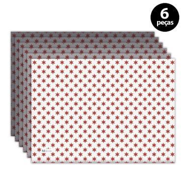 Imagem de Jogo Americano Mdecore Natal Estrelas 40x28 cm Branco 6pçs