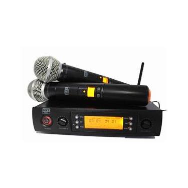 Microfone Duplo Sem Fio Digital Com 100 Canais MXT UHF 628M