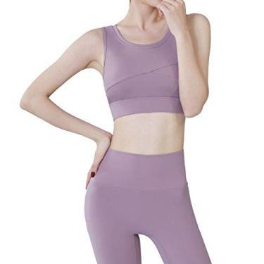 Red Plume Sutiã esportivo feminino acolchoado sem costura com suporte de alto impacto para ioga, academia, fitness, costas nadador, Roxa, M