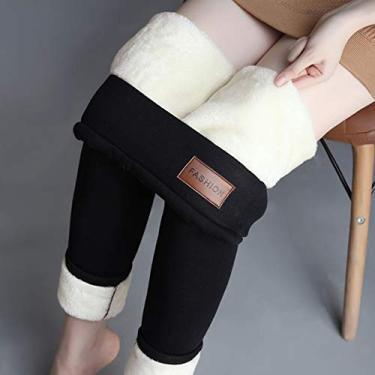 Kaczmarek Calça Quente Inverno Magro Grosso De Lã De Veludo Velo Meninas Leggings Calças Femininas De Pele De Cordeiro Calças De Cashmere Para Mulheres Leggings (Preto)