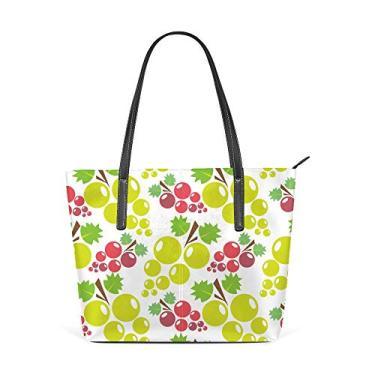 Bolsa de ombro feminina sacola de couro para compras grande trabalho, vermelho, uva, verde, sem costura, bolsa casual