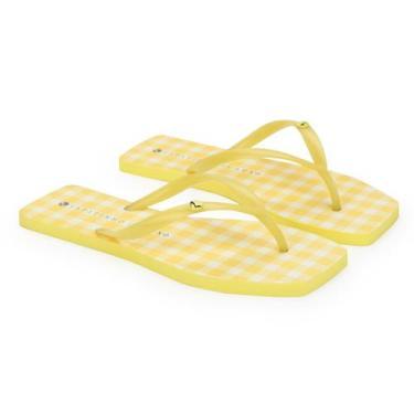 Imagem de Rasteira Translúcida Estampa Xadrez Amarelo - Sapatinho De Luxo
