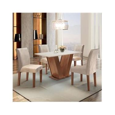 Conjunto Sala de Jantar Mesa Tampo MDF 4 Cadeiras Espanha Espresso Móveis  suede