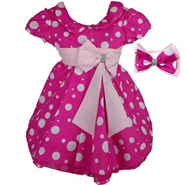 Vestido de Festa Minnie Rosa Luxo Com Tiara PP - 1