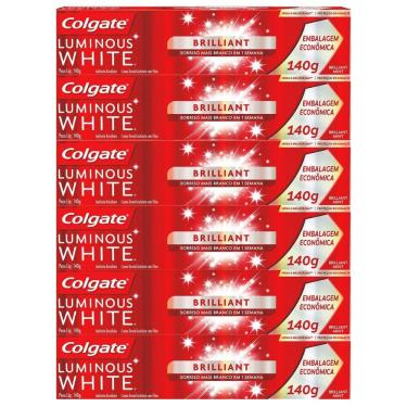Kit Creme Dental Colgate Luminous White Brilliant Mint 140g com 6 unidades