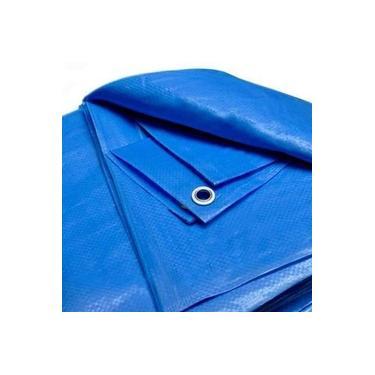 Lona Azul 6x4 M Plástica Impermeável Cobertura Barraca Camping Obra Telhado Multiuso + Ilhós