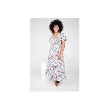 Vestido Viscose Estampa Floral Off White