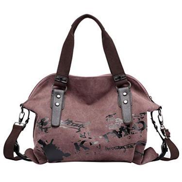 Tendycoco – Bolsa feminina casual de lona, bolsa carteiro vintage transversal (violeta)