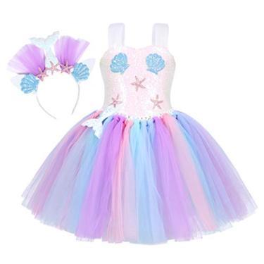 Imagem de Fantasia de sereia vestido de princesa para meninas sereia, roupa tutu de festa de Halloween tema fantasia infantil chique cosplay roupas de encenação (vestido azul + faixa de cabeça cauda de sereia, 2T)