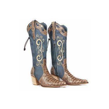 Bota De Salto Country Feminina Jeans Azul Claro