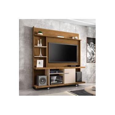 Estante Home New Torino para TV até 47 Pole Cinamomo 3D Off White Ripado Bechara