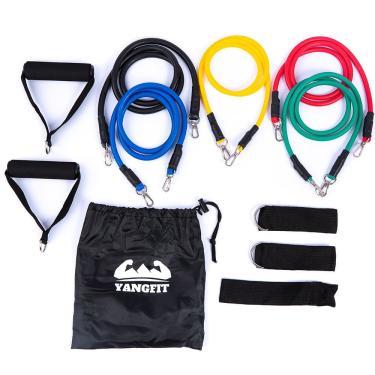 Kit Elástico Extensor com 11 Itens Treino Funcional Yangfit