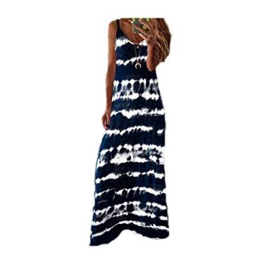 SAFTYBAY Vestido maxi feminino boêmio, vestido longo sem mangas, estilo tie dye, casual, solto, decote em V, vestido de praia rodado, Azul marinho, L