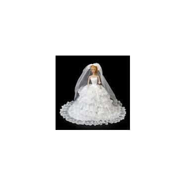 Imagem de Vestido De Casamento Branco De Luxo + Terno Formal Roupas Conjunto Para Bonecas Barbie Ken