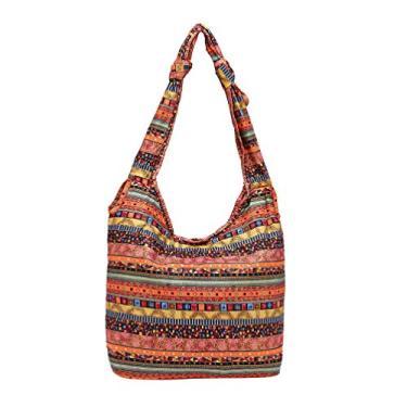KESYOO Bolsa de Ombro Floral Moderna Reutilizável Bolsa de Lona Feminina Grande Capacidade Sacola de Compras Casual Bolsas de Mão para Viajar Casa ao Ar Livre (Vermelho), Vermelho, Size 1