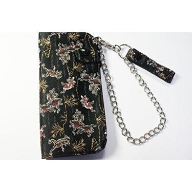 Carteira de tingimento tradicional Ripple Japanease com corrente de carteira Nº 2 para dança de coelho