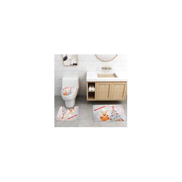 Imagem de 4/3/1 pcs Impressão de árvore de Natal Conjunto de cortina de chuveiro de banheiro Tapete de capa de banheiro Kit de tapete antiderrapante para banheiro Acessórios de banheiro Conjunto de tapete de banho 3 peças