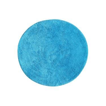 Imagem de Tapete De Banheiro Algodão Redondo Vizapi Varanasi 60Cm Azul Turquesa