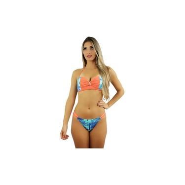 Biquíni Feminino Anguilha Palms Blue Coral Rosa Tropical Estampa Verão2020