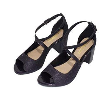 Sandália de Salto Andanza Brilho Negro 4172L - 35