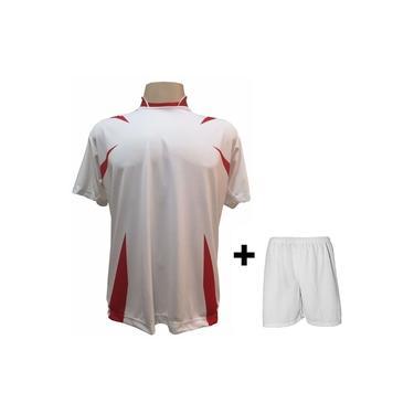 Imagem de Uniforme Esportivo com 14 camisas modelo Palermo Branco/Vermelho + 14 calções modelo Madrid + 1 Goleiro +