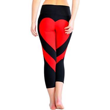 Calça legging feminina de corrida com estampa de coração e nádegas TENDYCOCO – Tamanho P (preta e vermelha)