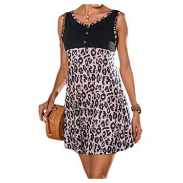 Vestido de festa feminino com estampa de leopardo verão com decote em V e cores vibrantes da Comaba, Light Brown, Small