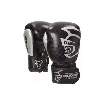 Luva Pretorian Elite Preta E Prata Muay Thai Boxe 16 Oz