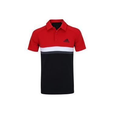 68213a2adc Camisa Polo com Proteção Solar UV adidas Club Colorblock TD - Masculina -  PRETO VERMELHO