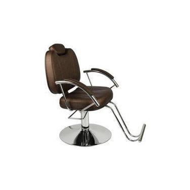 Cadeira De Cabeleireiro Hidraulica Reclinavel, Barbeiro, Móveis Salão, Fortebello Moveis - Cor: Cafe Acetinado