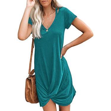 WEKILI Vestido feminino casual de manga comprida gola V nó laço, 01 azul-petróleo, XL