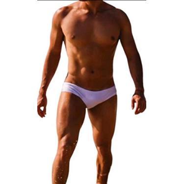 Sunga Cavada Slim Homem De Sunga Branco Metálico (G)
