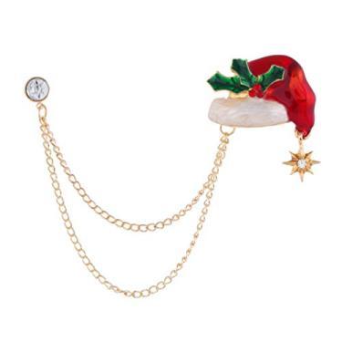 Broches de Natal para chapéu de Natal esmaltados de Natal com corrente da TENDYCOCO