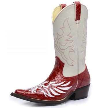 Bota Top Franca Shoes Country Vermelho  masculino