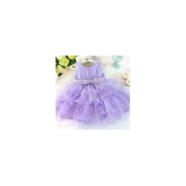 Vestido infantil de manga curta L-58 roxo 110cm