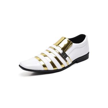 Imagem de Sapato Social Masculino Top Franca Shoes Verniz Branco Dourado