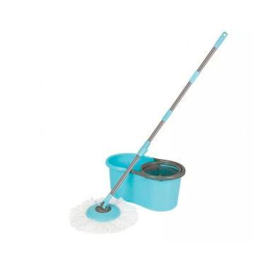 Kit Limpeza Mor Esfregão Mop + Balde 8298 - Azul com Cinza