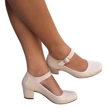 Sapato Creme Nude Feminino Boneca Social Salto Grosso