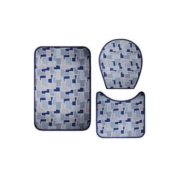 Imagem de Jogo De Banheiro Antiderrapante Emborrachado-Azul Geométrico