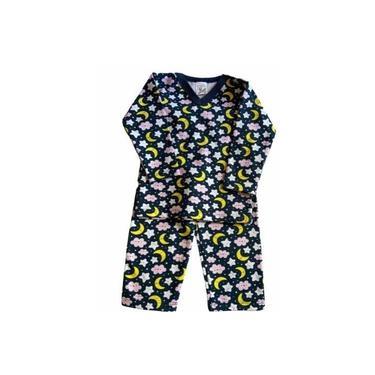 Pijama Infantil Flanela Estampado Menina Azul Céu Noite