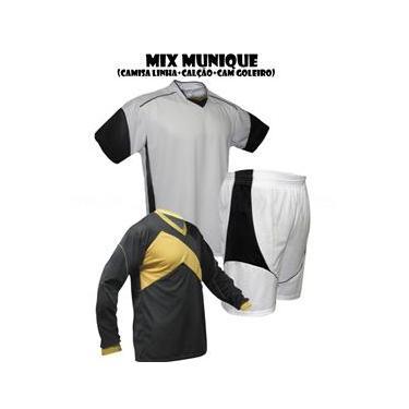 Uniforme Esportivo Munique 1 Camisa de Goleiro Omega + 7 Camisas Munique + 7 Calções - Branco x Preto
