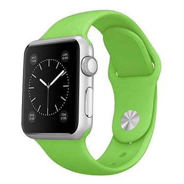 Pulseira Sport em Silicone para relógio Apple Watch 42mm Series 3 2 1 (Verde 42mm ML)
