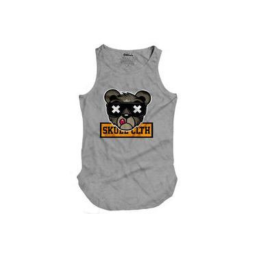 Camiseta Masculina Regata Longline Urso Skull