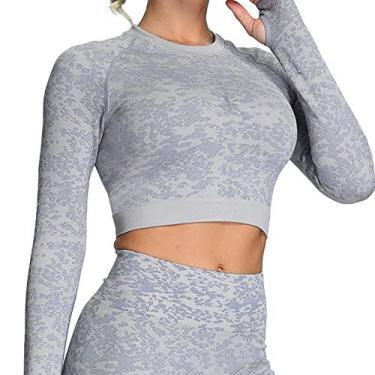 Calça legging feminina Aoxjox para ioga para treino, cintura alta, academia, esportes, camuflagem, sem costura, Top Animal Lilac Grey, S