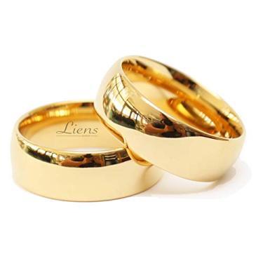 Imagem de Par de Alianças de Casamento Tungstênio 8mm Folheada a Ouro 18K